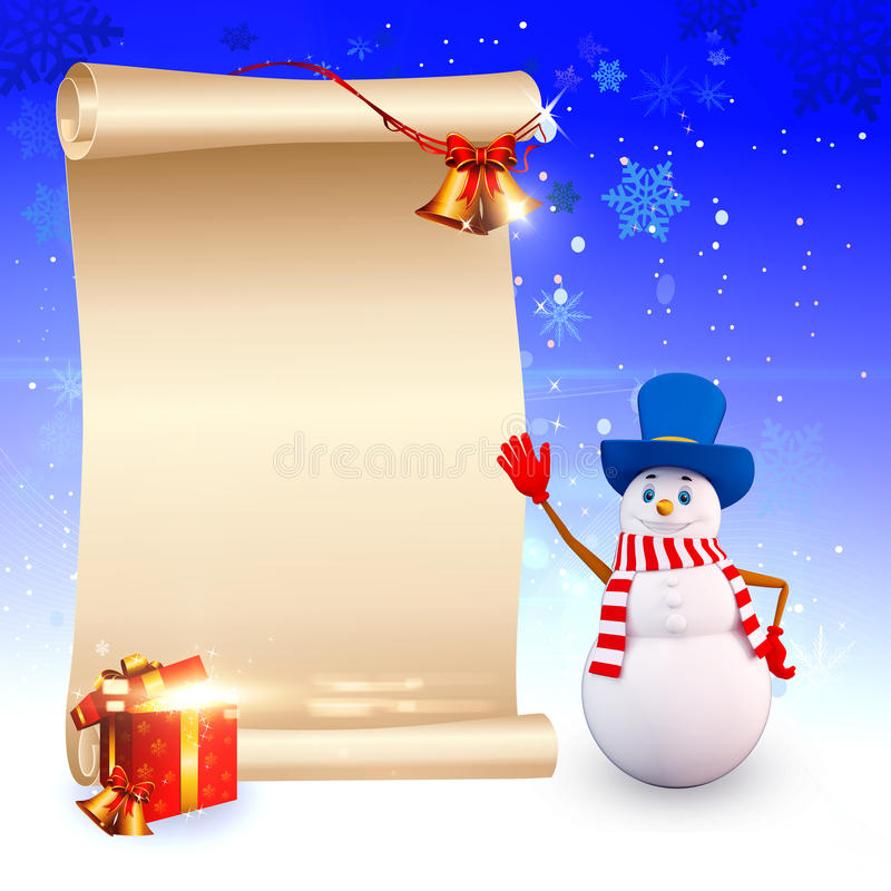 Download Snow Man Pointing A Big Sign Stock Illustration - Image: 26672590