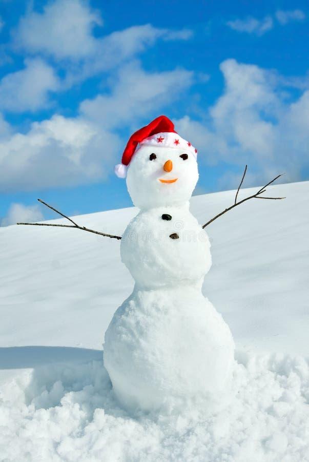 Snow man in santa cap on nature stock images