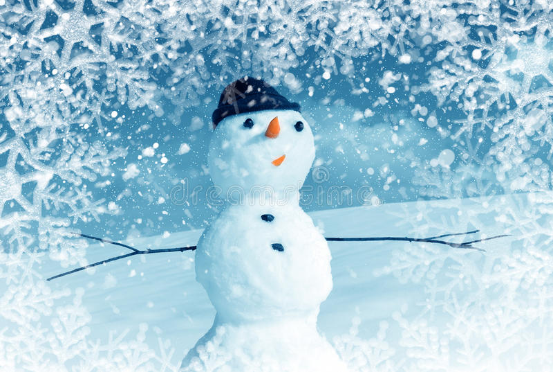 Snow man in snow frame stock image