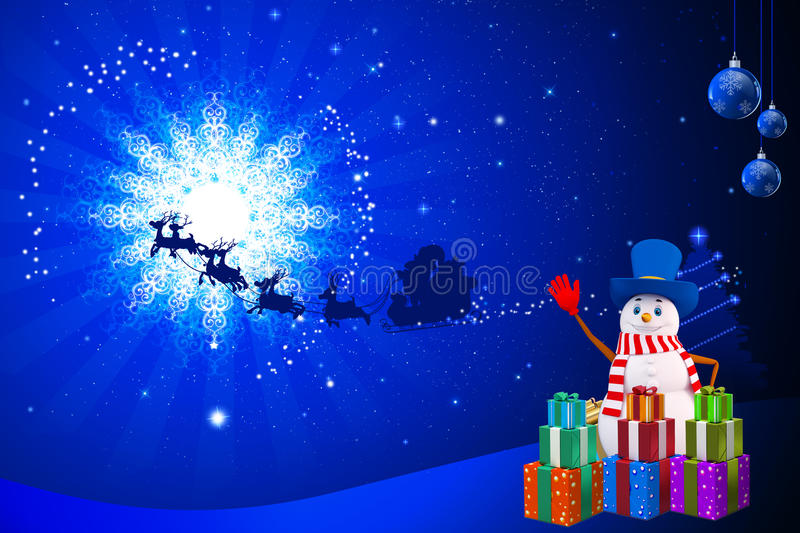 Download Snow Man Is Wearing A Blue Hat Stock Illustration - Image: 26667874
