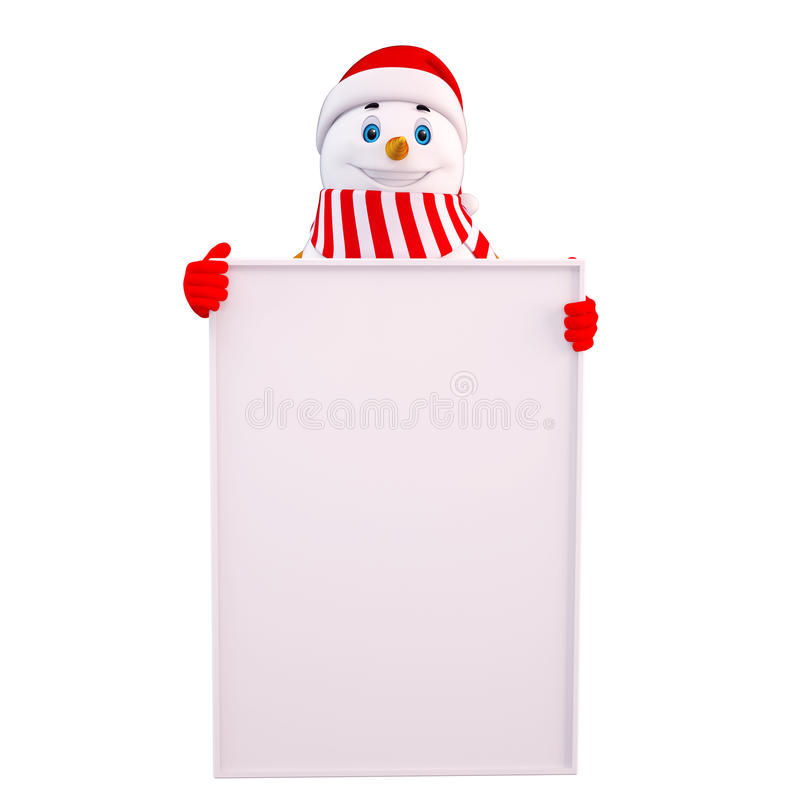 Download Snow man with white sign stock illustration. Image of illustration - 26519874