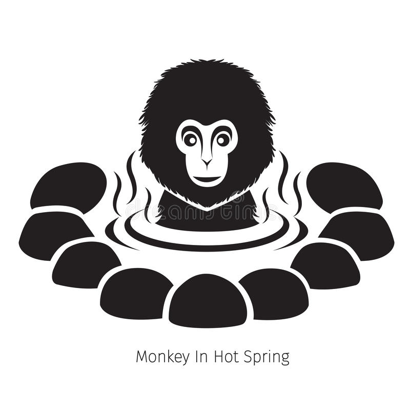 Snow Monkey In Hot Spring, Monochrome. Bath Onsen Japanese Culture Healthy Season Body royalty free illustration
