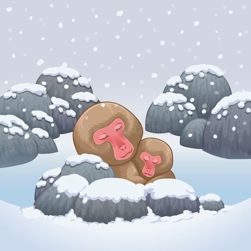 Snow monkey japanese relaxing in onsen hot springs. Illustration stock illustration