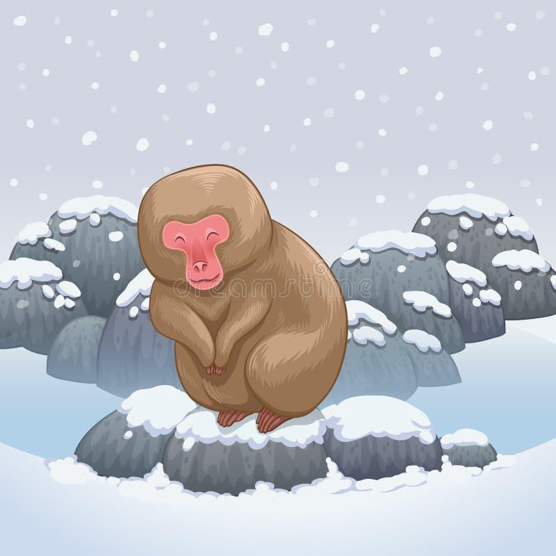 Snow monkey japanese relaxing in onsen hot springs. Illustration vector illustration