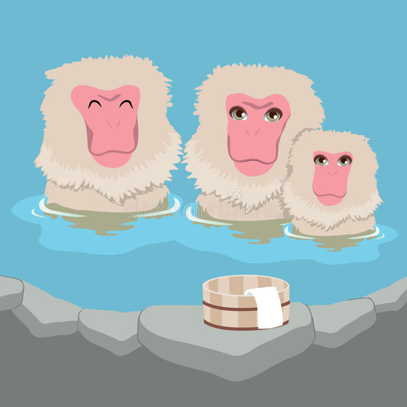 Snow Monkey Onsen Family. Cute snow monkey Japanese macaques family having hot springs bath at traditional onsen royalty free illustration