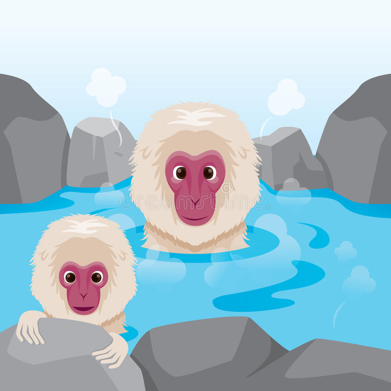 Snow Monkey Relaxing In Hot Spring. Bath Onsen Japanese Culture Healthy Season Body stock illustration