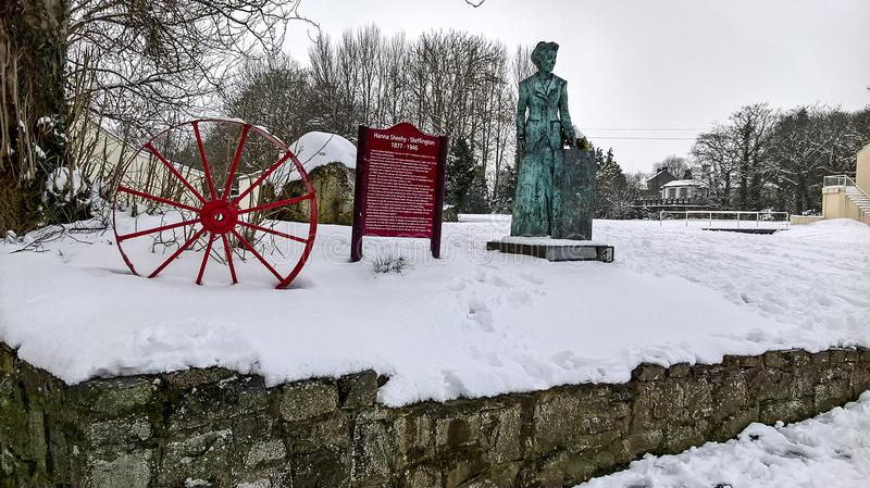03/03/2018 Storm Emma in Ireland. Snow on the monument dedicated to the suffragette Hanna Sheehy Skeffington in the town of Kanturk, County Cork royalty free stock photography