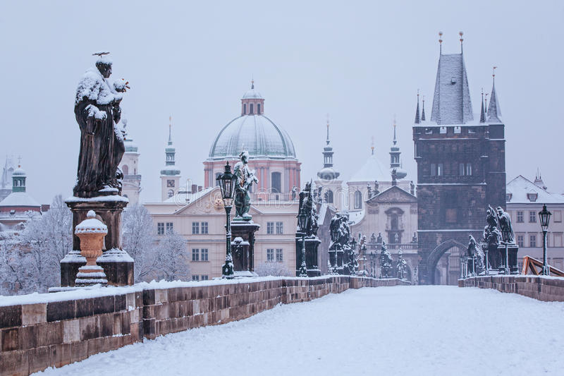Charles bridge in winter, Prague royalty free stock image