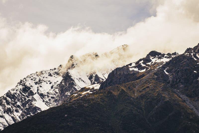 A snow mountain at Arthur`s Pass, New Zealand royalty free stock image