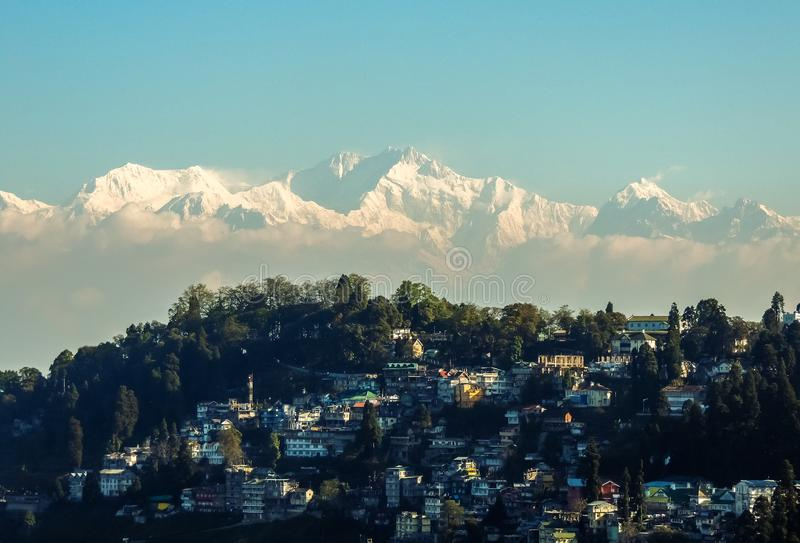 Snow Mountain Background of Magical Darjeeling India make a Paradise. Light at the foothills of the Himalayas, Darjeeling attracts all those who wish to royalty free stock images