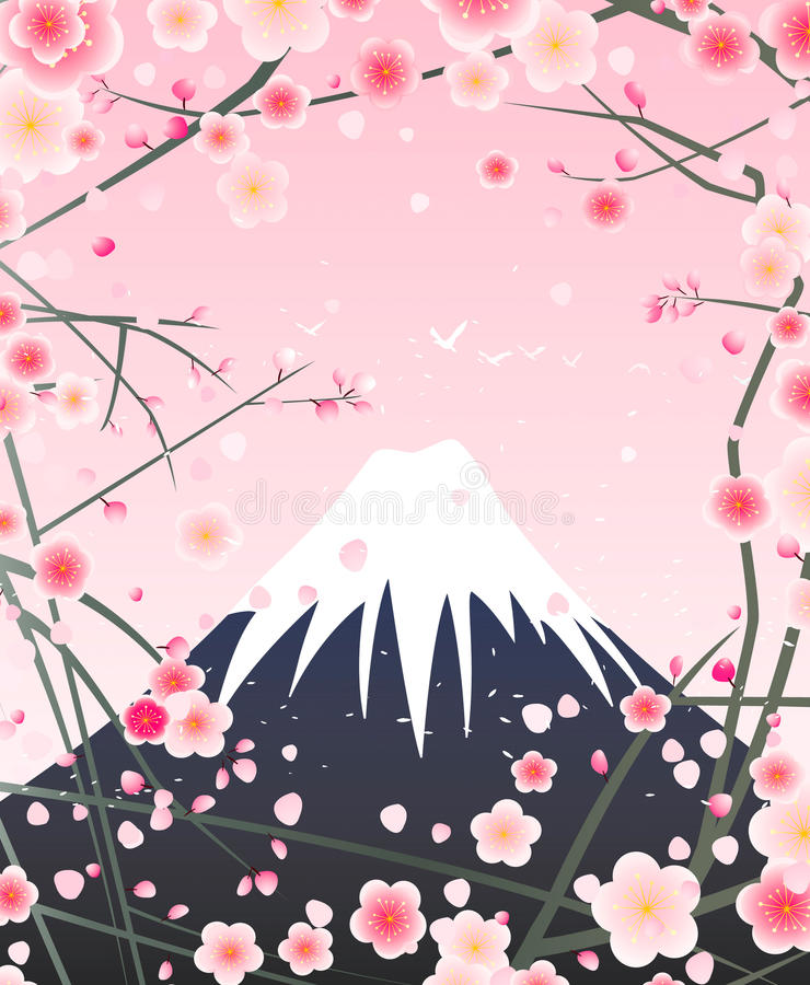 Snow mountain and cherry blossom vector illustration