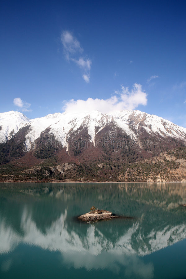 Snow mountain & lake stock photos