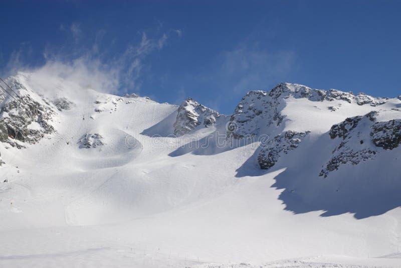 Snow mountain landscape stock images