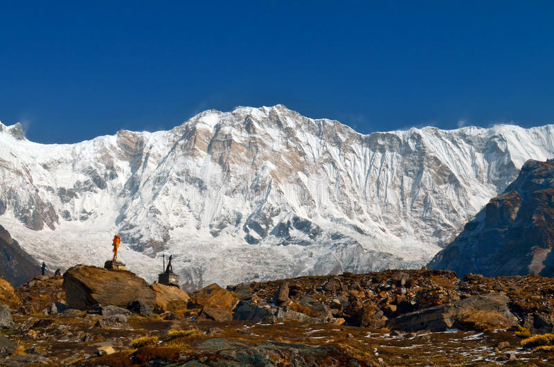 Snow Mountain Landscape in Himalaya and climber graves in Annapurna Base Camp. royalty free stock photos