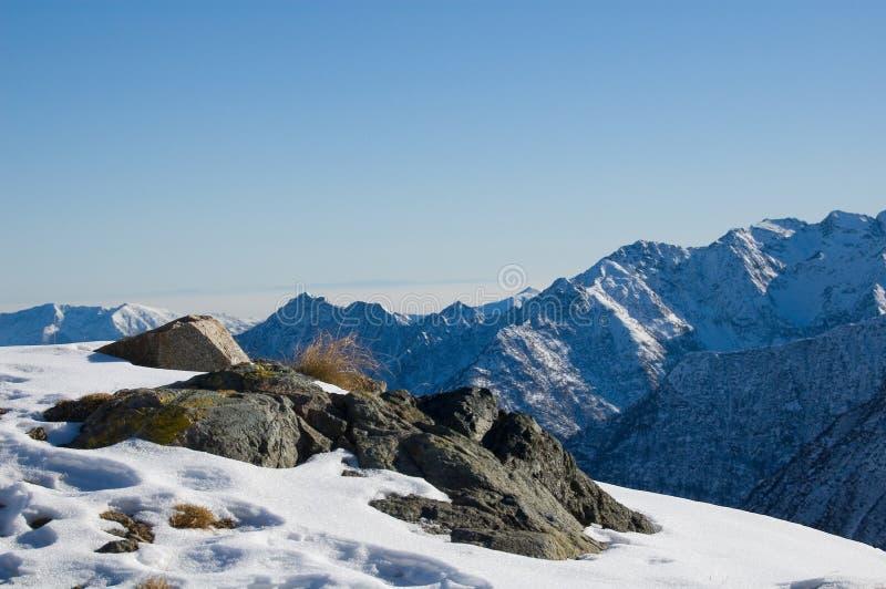Snow mountain peak panorama stock photo