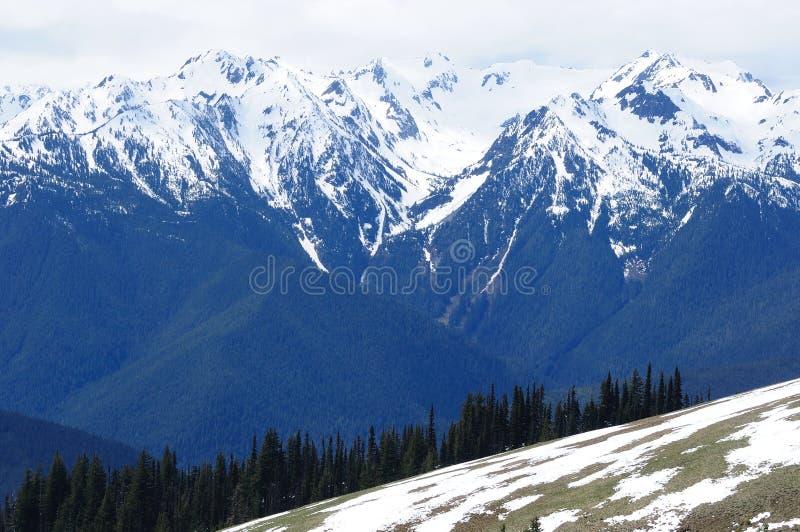 Snow mountain ridge stock photo
