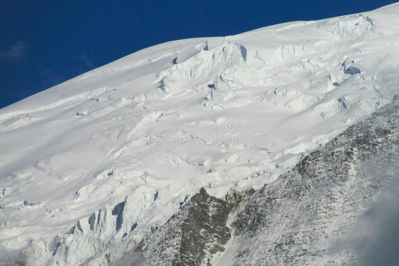 Snow mountain ridge. In Alps, white snow summit stock photos