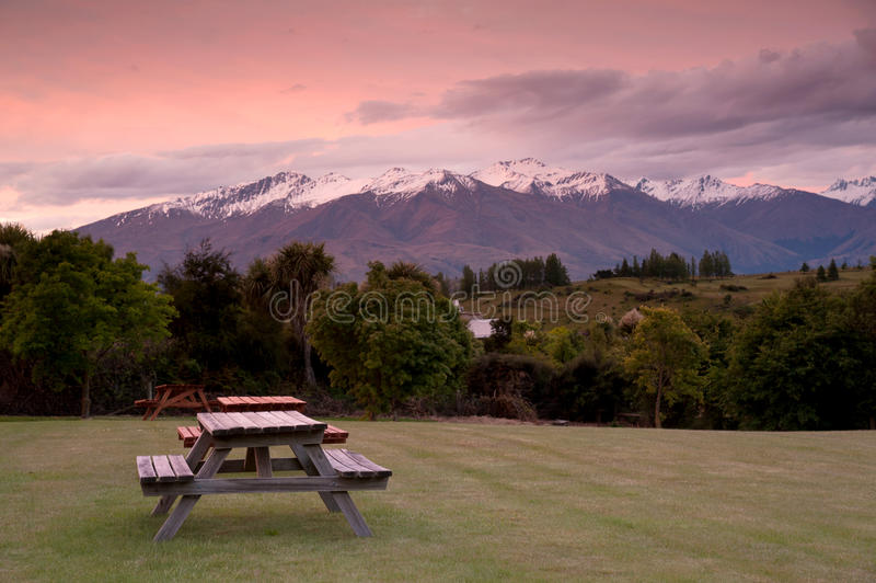 New Zealand Time Image: Snow Mountain In Sunset Time, South Island, New Zealand