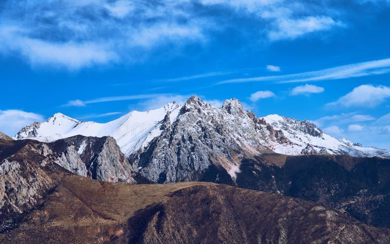 Snow mountain in Tibet stock images