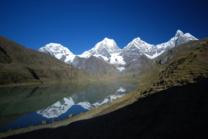 Snow mountains and azure lake in Peru stock photo