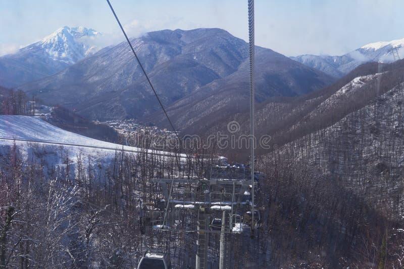 Snow mountains, blue sky winter ski resort. Snow mountains, blue sky winter ski stock photography