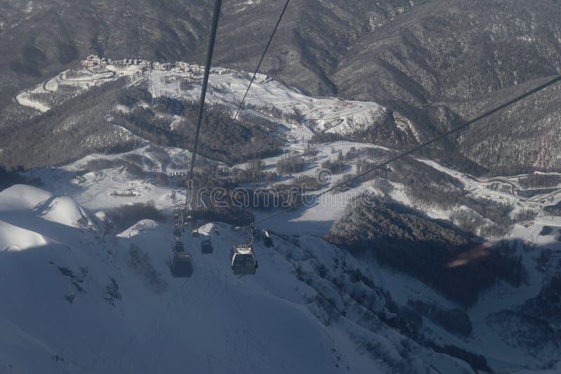 Snow mountains, blue sky winter ski resort. Snow mountains, blue sky winter ski royalty free stock photography