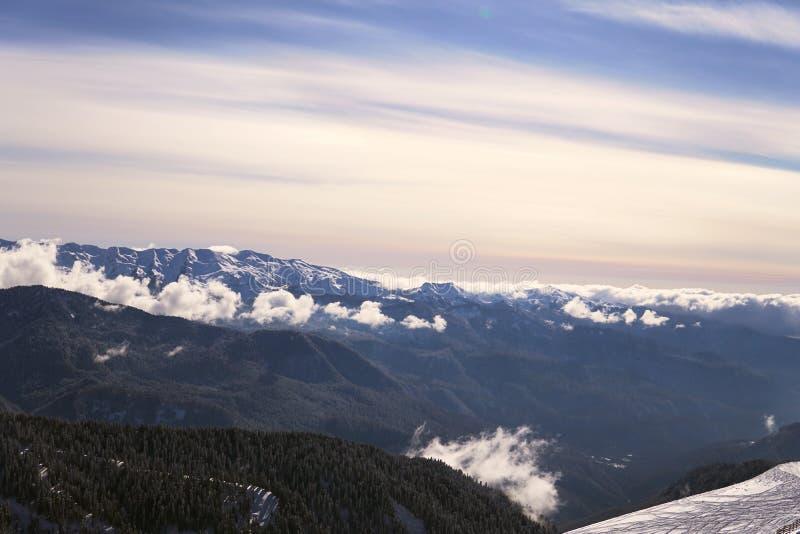 Snow mountains, blue sky winter ski resort. Snow mountains, blue sky winter ski royalty free stock images