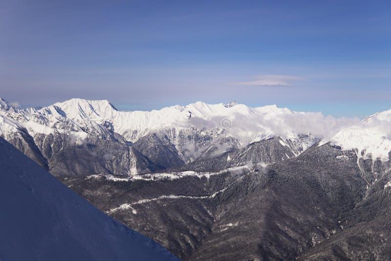 Snow mountains, blue sky winter ski resort. Snow mountains, blue sky winter ski stock images