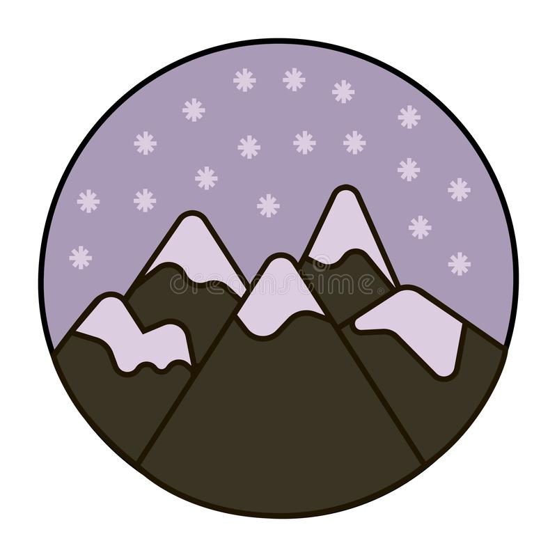 Snow in the mountains icon. Set of black and white easter eggs, winter weather vector illustration