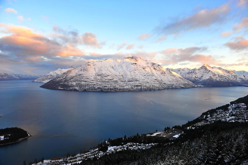 Download Snow Mountains And Lake In Queenstown, New Zealand Stock Image - Image of queenstown, evening: 20871225