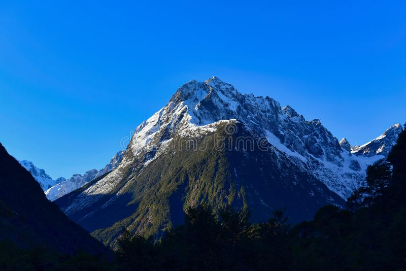 Snow mountains in New Zealand royalty free stock images