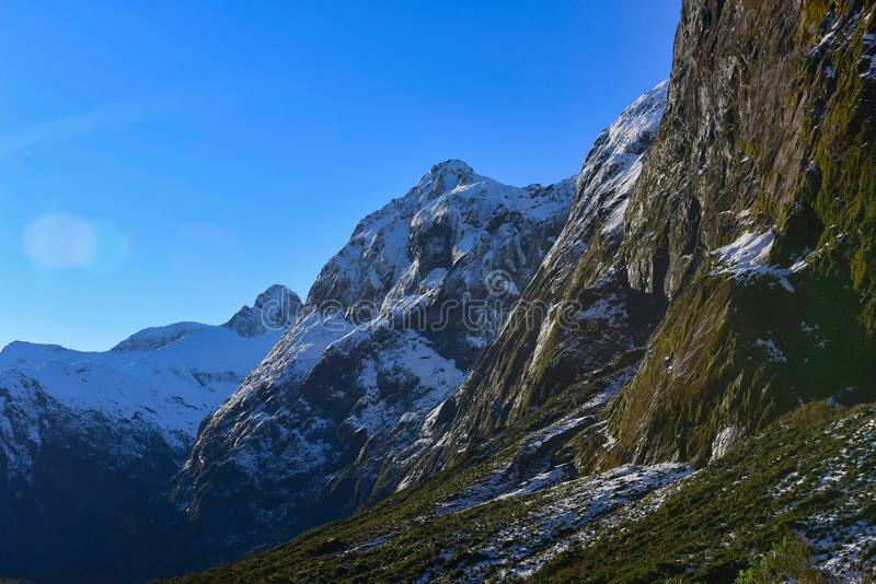 Snow mountains in New Zealand stock photo