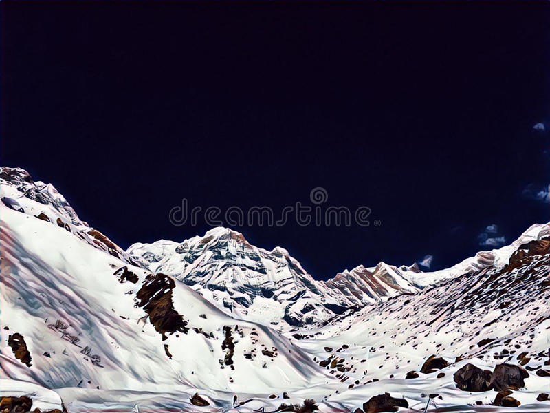 Snow mountains under black sky. Digital illustration of Himalaya mountains ice peaks panoramic view. Monochrome horizontal image with place for text. Winter royalty free illustration