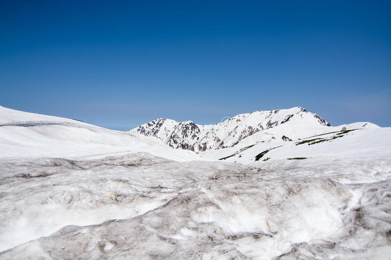 Snow moutain in japan stock image