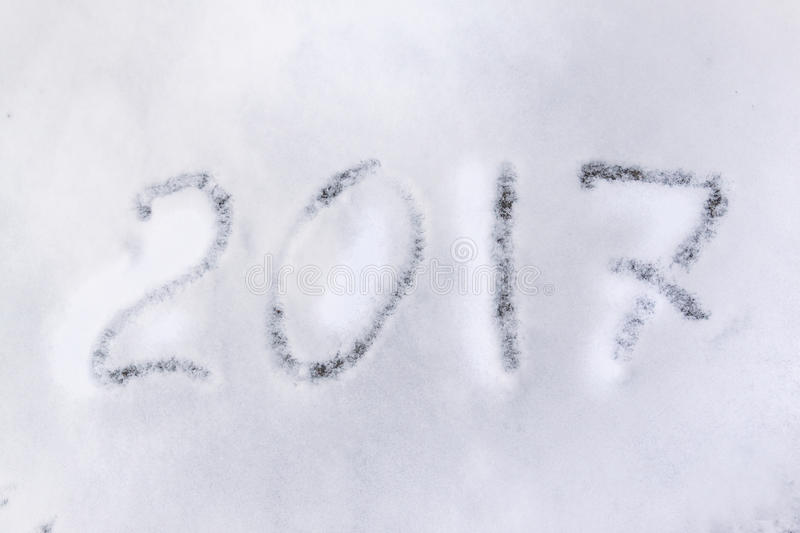 2017 on the snow. For the new year and christmas stock photography