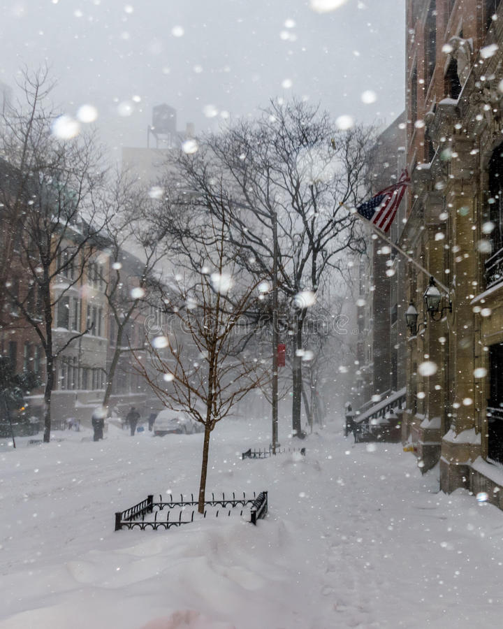 Snow in New York City stock photography