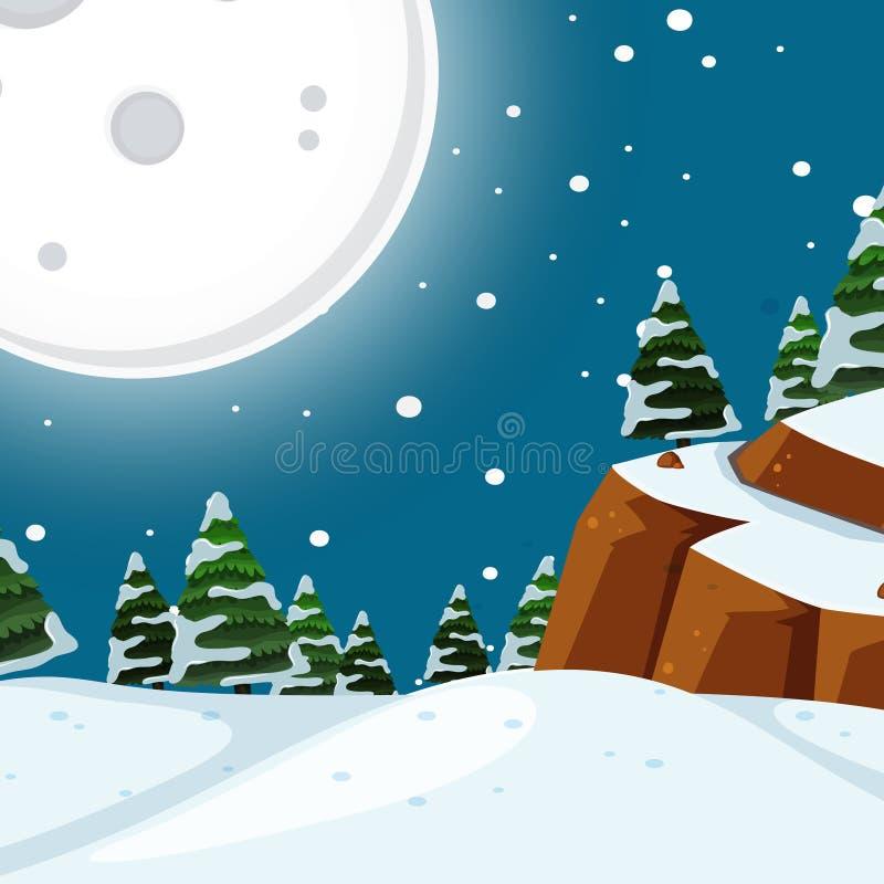 Snow night time scene stock illustration