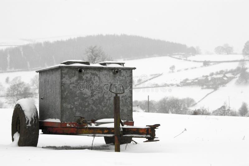 Snow over Derbyshire Farm stock photography