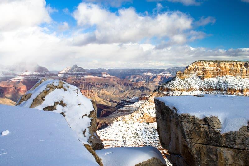 Snow over Gran Canyon stock photo