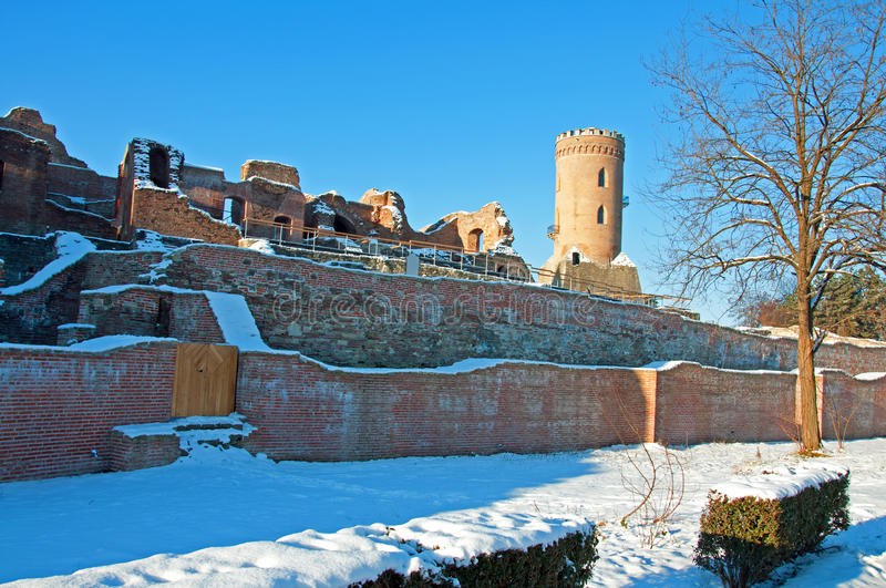 Snow over past ruins royalty free stock photography