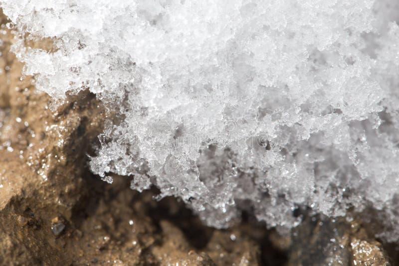 Snow på jordningen Närbild arkivbild