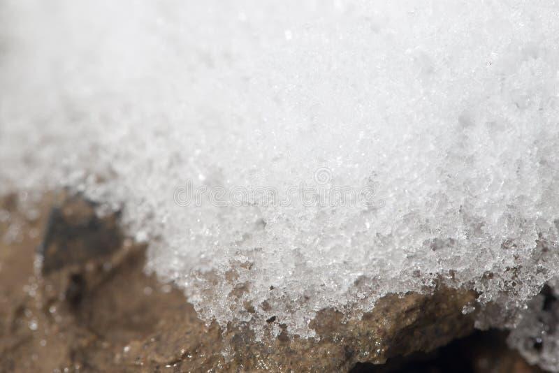 Snow på jordningen Närbild arkivfoton