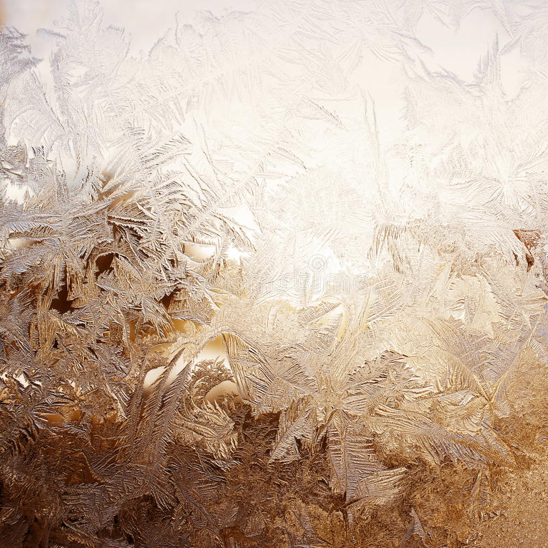 Snow pattern on window stock images