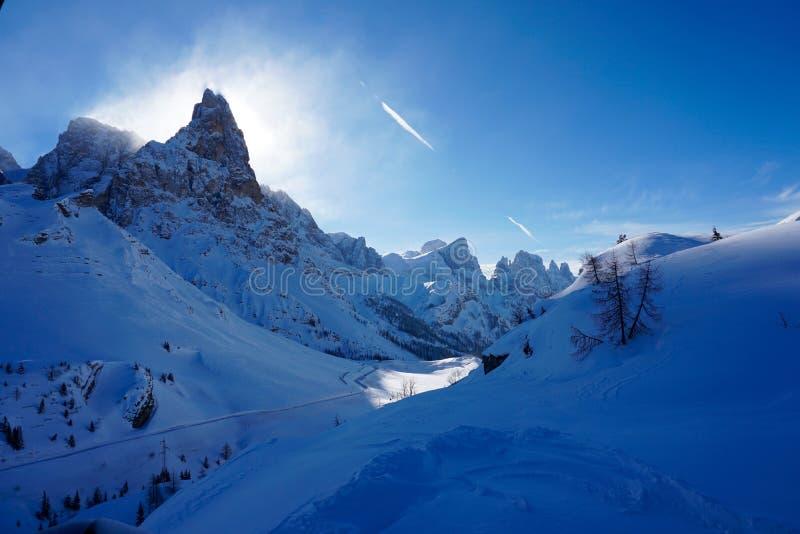 Download Snow Peak Backlit Mountain Landscape Sun Winter Stock Image - Image of cold, wintern: 118613339