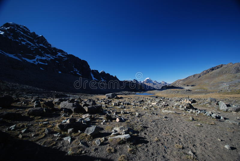 Snow peaks and mountains in Peru stock photo