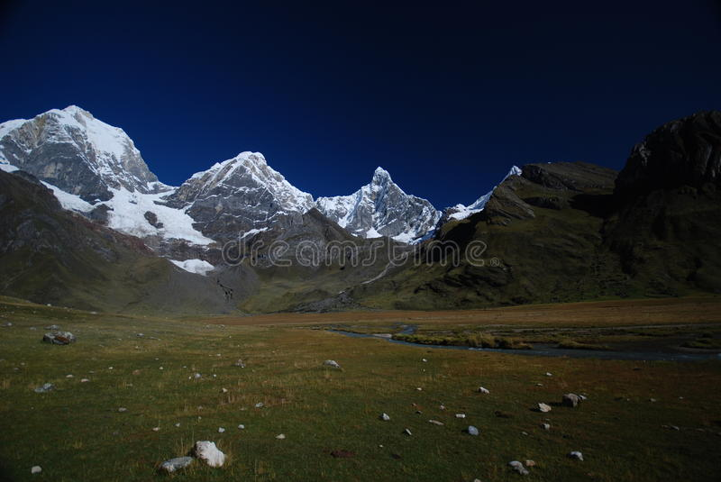 Snow peaks and mountains in Peru royalty free stock photos