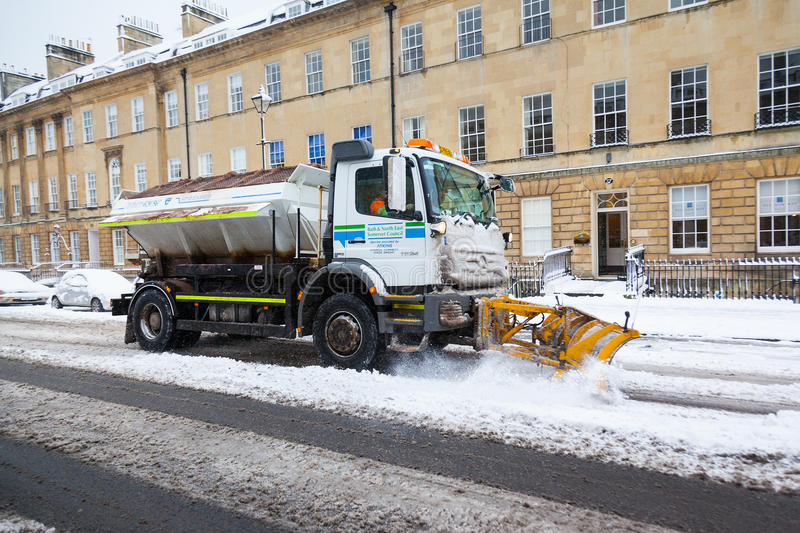 Download Snow Plough Clears Street In Bath, UK Editorial Image - Image: 34320010