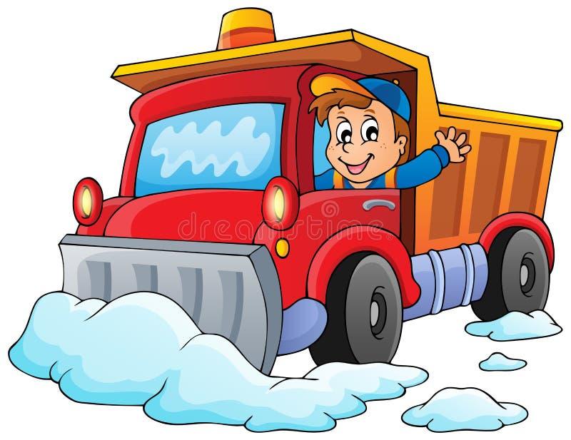 Snow plough theme image 1 vector illustration