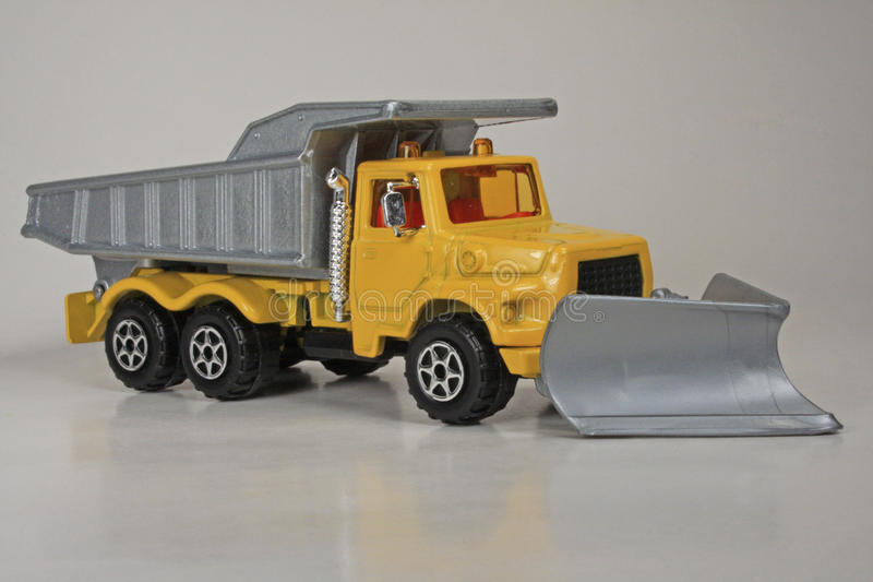 Snow Plow Dump Truck. 1:60 scale model die-cast miniature, Majorette #4507.1, issued 1998 stock images