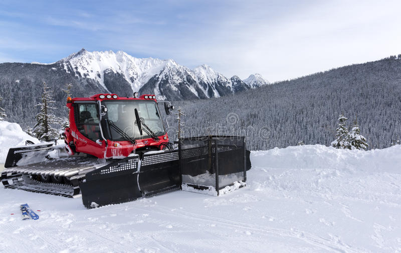 Snow Plow in the Mountains stock photos